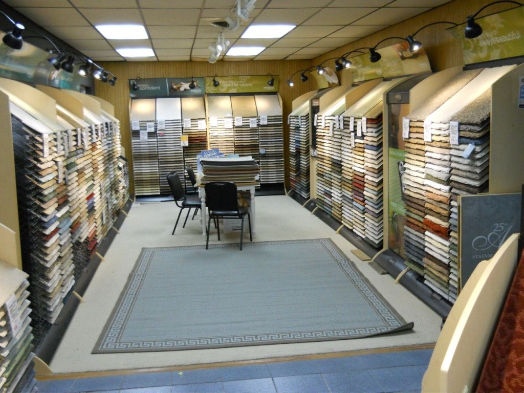 Variety of flooring products in showroom | Custom Carpet Centers